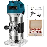 Wood Router with 15pcs 1/4' Collets Router Bits 800w 110v Laminate Milling Engraving Hand Machine...
