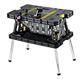 Keter - 197283 Folding Table Work Bench for Miter Saw Stand, Woodworking Tools and Accessories with...