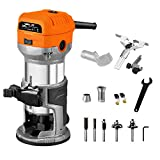 VOLLTEK 6.5-Amp Wood Router Tool, 1.25 HP Compact Trim Router with 5PCS Wood Router Bits, Edge...