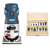 BOSCH Router Tool, Colt 1-Horsepower 5.6 Amp Electronic Variable-Speed Palm Router PR20EVS & Hiltex...