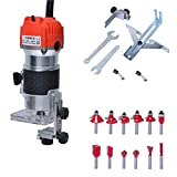 Gekufa Wood Router Laminate Trimmer Woodworking Slotting Carving Trimming Machine 110V 800W with 12...