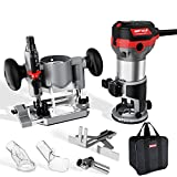 WETOLS Compact Router Tool Set, Fixed/Plunge Base Kit, 6 Variable Speed, 1-1/4-HP Max Torque, Must...