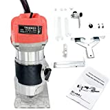 Cozyel 110V 800W Palm Router Electric Hand Trimmer Wood Router 1/4' Collets Woodworking Tool...