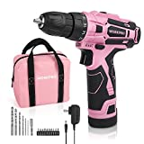 WORKPRO Pink Cordless Drill Driver Set, 12V Electric Screwdriver Driver Tool Kit for Women, 3/8'...