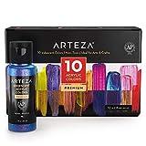 Arteza Iridescent Acrylic Paint, Set of 10 Chameleon Colors, 2 oz/60ml Bottles, High Viscosity...