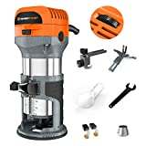 Enertwist Compact Router Tool, 7.0-Amp 1.25HP Soft Start Variable Speed Wood Router Kit w/Fixed...