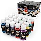 Arteza Outdoor Acrylic Paint, Set of 20 Colors/Bottles 2 oz./59 ml. Rich Pigment Multi-Surface Craft...