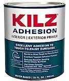 KILZ Adhesion High-Bonding Interior/Exterior Latex Primer/Sealer, White, 1 quart (Packaging may...
