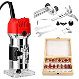 800W Compact Palm Wood Router Kit,110V Portable Edge Banding Trim Router for Woodworking Handicraft...
