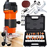 THINKWORK Compact Router, 6.5-Amp 1.25 HP Compact Wood Palm Router Tool Kit, Wood Trimmer with 15...