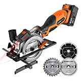 ENERTWIST 20V Max 4-1/2' Cordless Circular Saw with 4.0Ah Lithium Battery and Charger, Laser &...