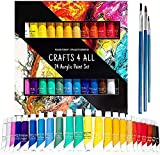 Crafts 4 All Acrylic Paint Set - 24 -Pack Painting Supplies for Canvas, Wood, Ceramic, Fabric -...